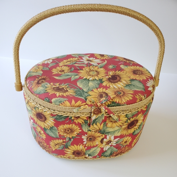 Sunflower sewing storage or picnic basket